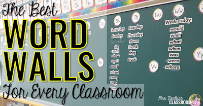 "Word Wall photo with text, ""The best word walls for every classroom."""