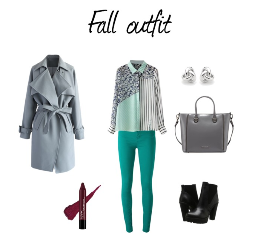 Jesienna stylizacja z trenczem i zielonymi rurkami