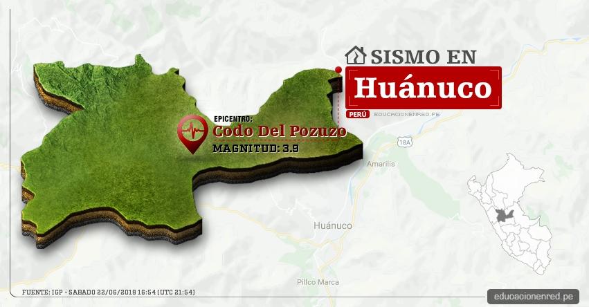 Temblor en Huánuco de Magnitud 3.9 (Hoy Sábado 22 Junio 2019) Sismo Epicentro Codo Del Pozuzo - Puerto Inca - IGP - www.igp.gob.pe