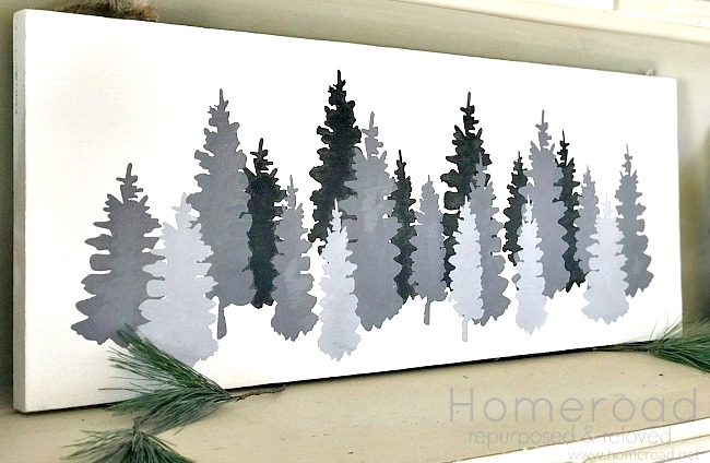 DIY Shades of Grey Stenciled Christmas Trees painting. Homeroad.net