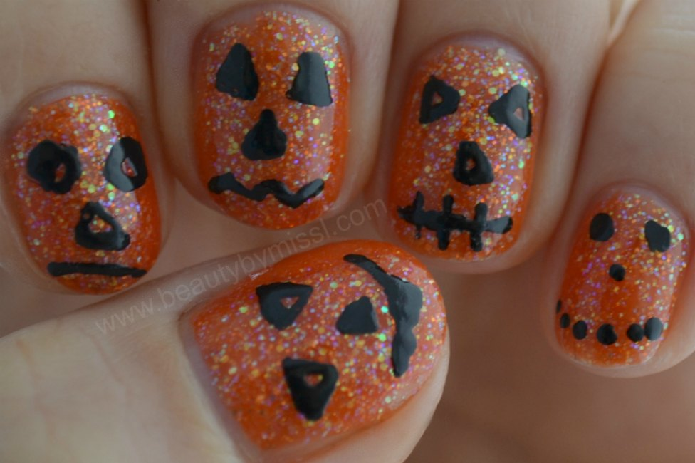 Halloween pumpkins, manicure, orange & black,