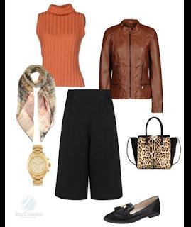 Sugestão de coordenado para jantar fora: culottes pretas, sapatos rasos pretos, camisola cor de tijolo, blusão decabdal castanho, mala de mão animal print, relógio dourado, lenço em tons castanho e bege