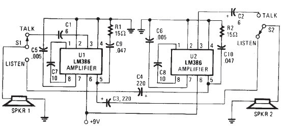 two station intercom based on lm386 circuit diagram