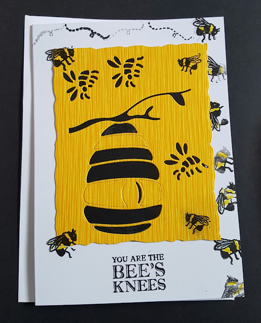 "Bee's Knees - Beehive and bees 7"" x 5"" white card"