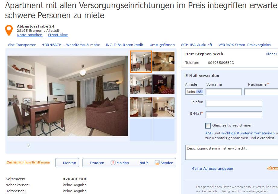Wohnungsbetrugblogspotcom Gemtliche Wohnung Zum