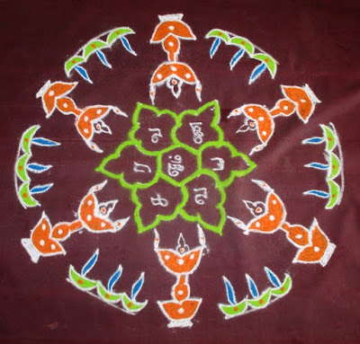 Karthigai deepam kolam with dots