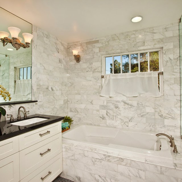 Contemporary Bathroom Marble Tile Countertop