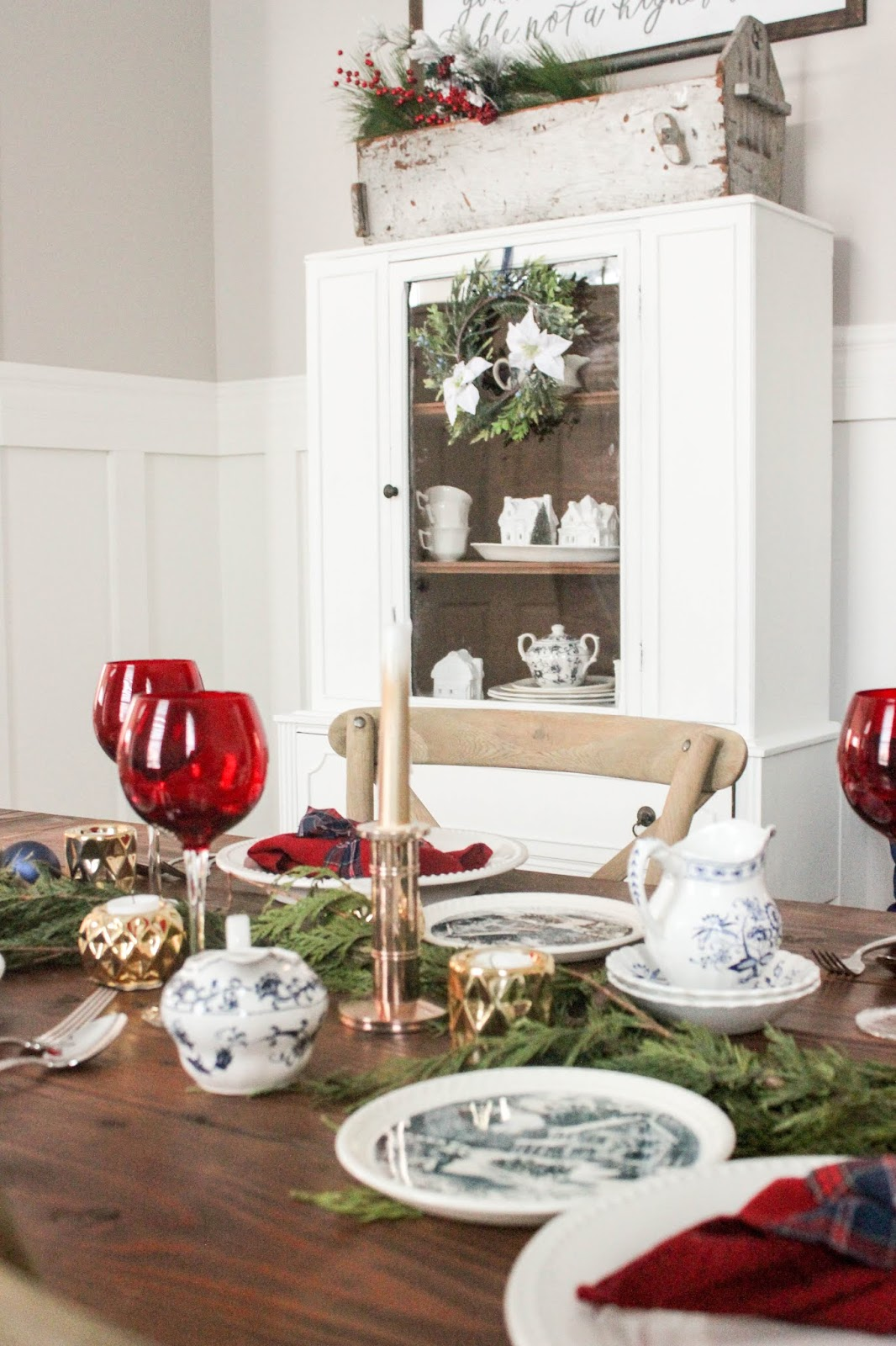 dining room hutch christmas decor