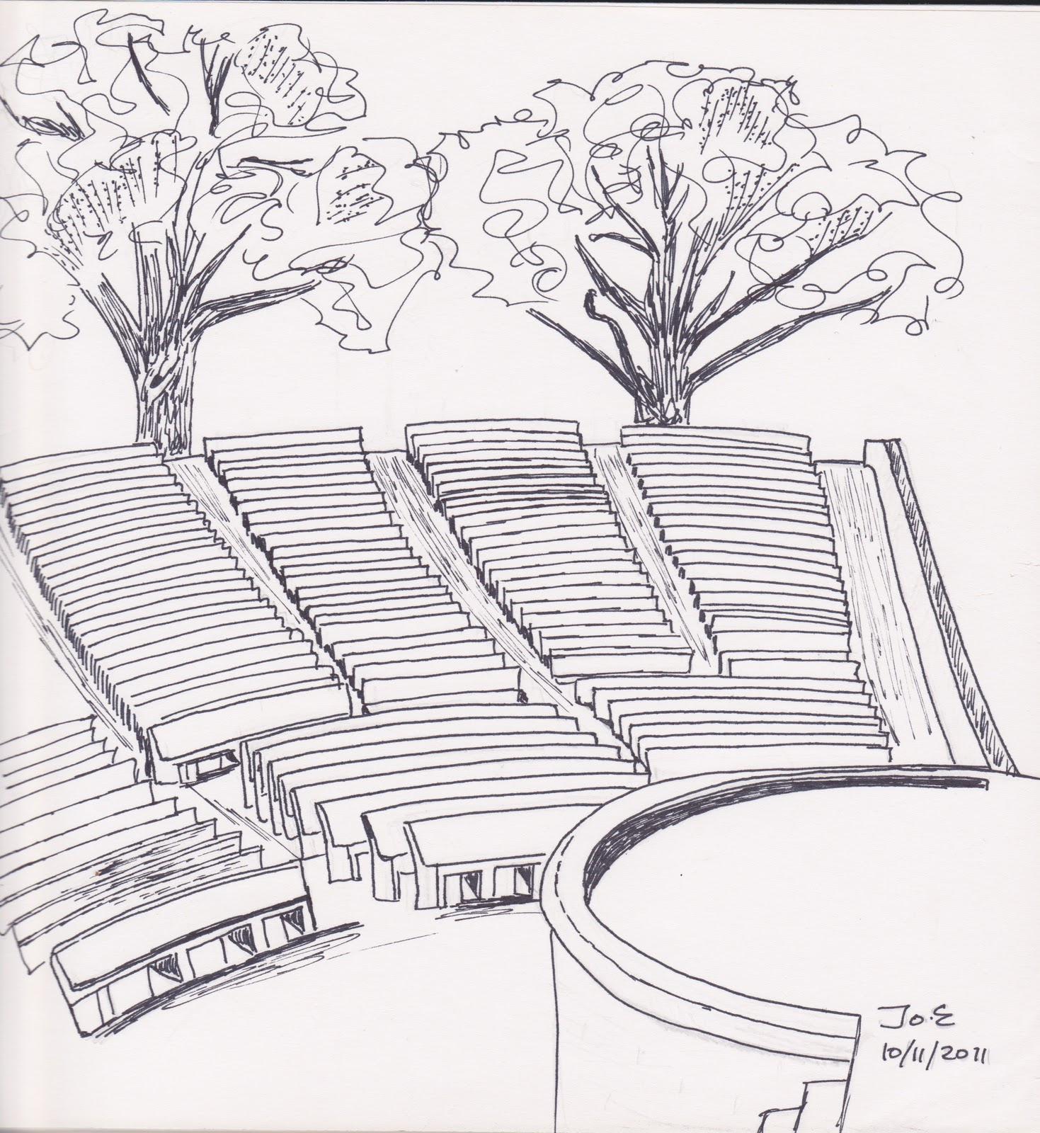 How To Draw An Ancient Greek Theatre Sketch Coloring Page