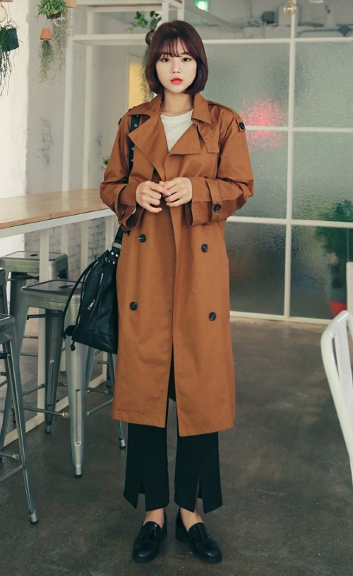 Double Breasted Tie-Waist Trench Coat