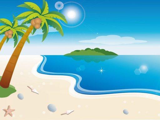 Dibujo De Playa Con Palmeras Escena De Playa Con Palmeras Para