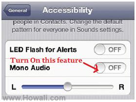Turn on Mono Audio on iPhone