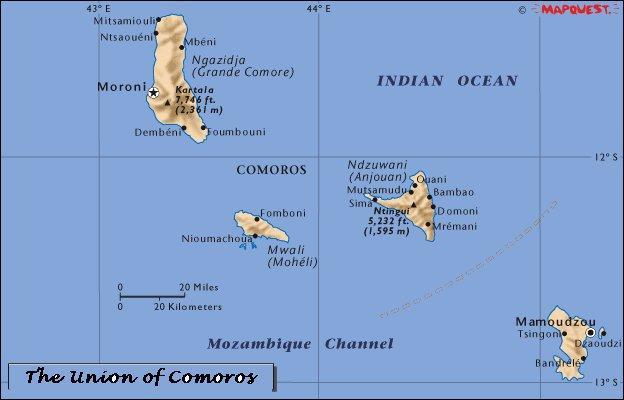 Comores | Mapas Geográficos das Ilhas Comores