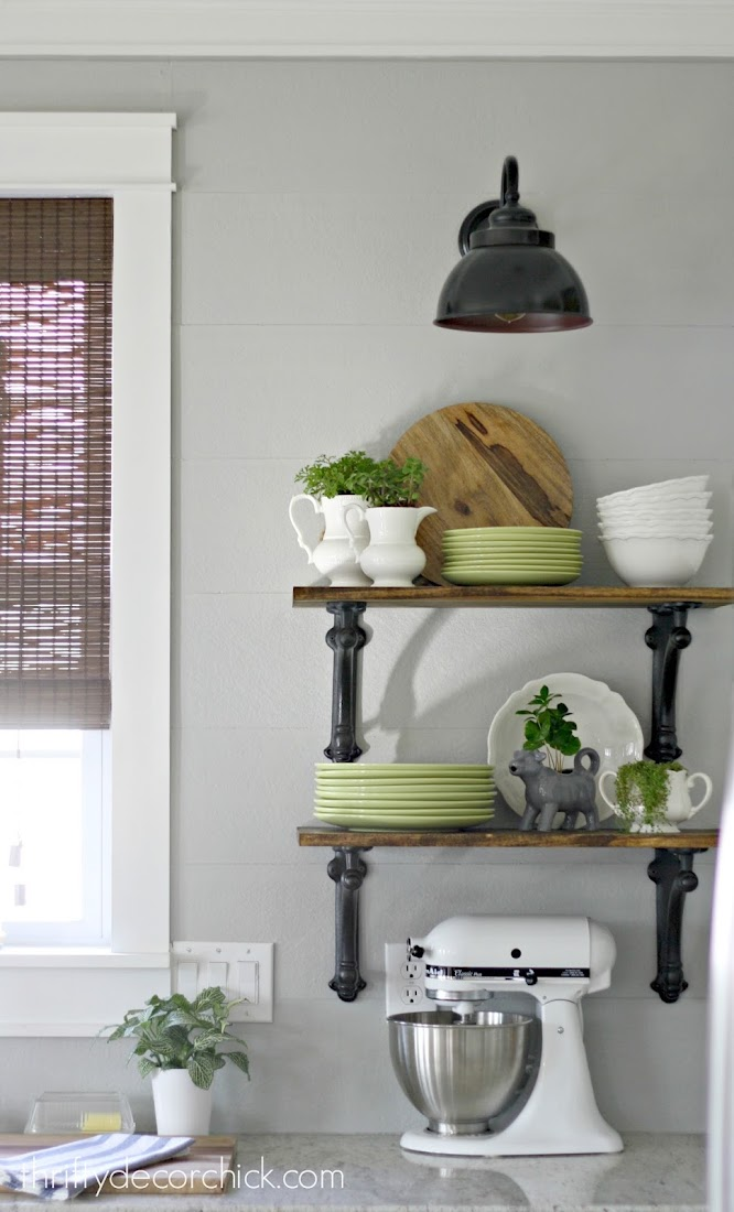 open wood shelves in kitchen