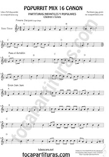Partitura de Saxo Tenor Popurrí Mix 16 Partituras de Freere Jacques, Pasa el Batallón, Eram Sam Sam Sheet Music for Tenor Saxophone Music Scores