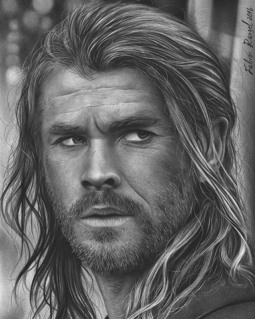 08-Thor-Chris Hemsworth-Fabio-Rangel-Drawings-of-Protagonists-from-TV-and-Movies-www-designstack-co