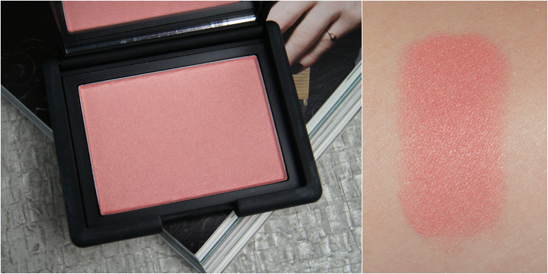 nars deep throat powder blush review swatch peachy pink brightens slight shimmer perfect spring summer