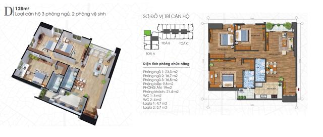 thiết kế căn hộ ecolife tây hồ 128m