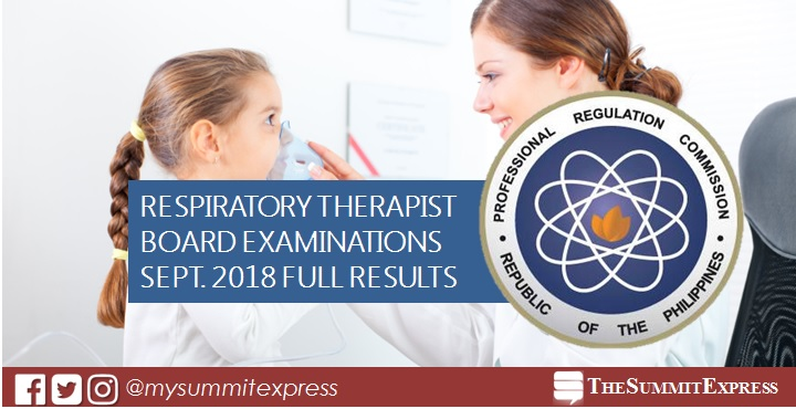 September 2018 Respiratory Therapist RT board exam list of passers, top 10