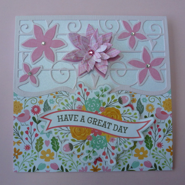 Tonic Dies Card Images Made from Issue 5 pink flower card have a great day birthday card
