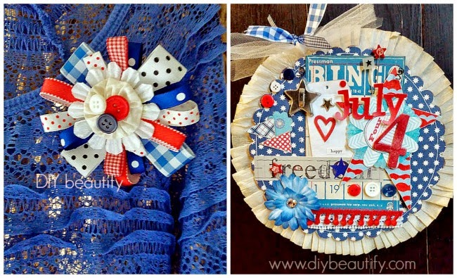 July 4 Ribbon Pin and Home Decor