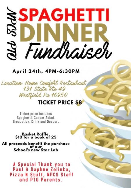 4-24 Fundraiser Spaghetti Dinner At The Home Comfort Restaurant