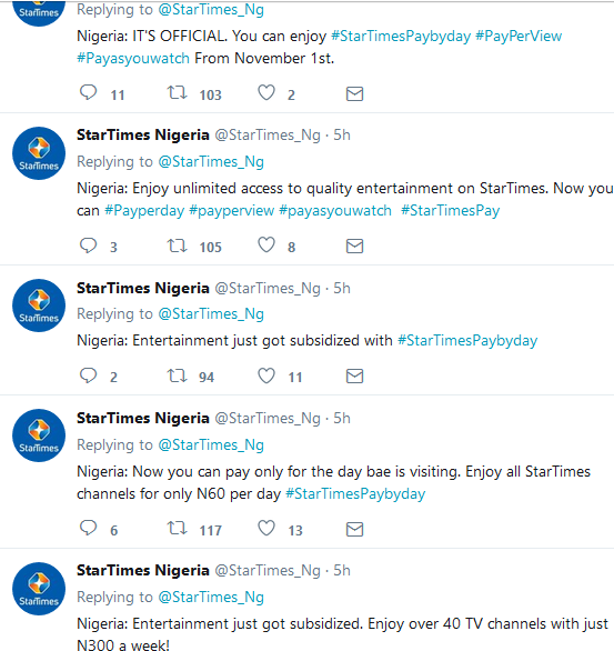 StarTimes Introduce Pay Per Day, Weekly and Monthly