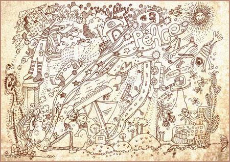 Doodle ketika emosi tidak stabil. Doodle ini berjudul Peace