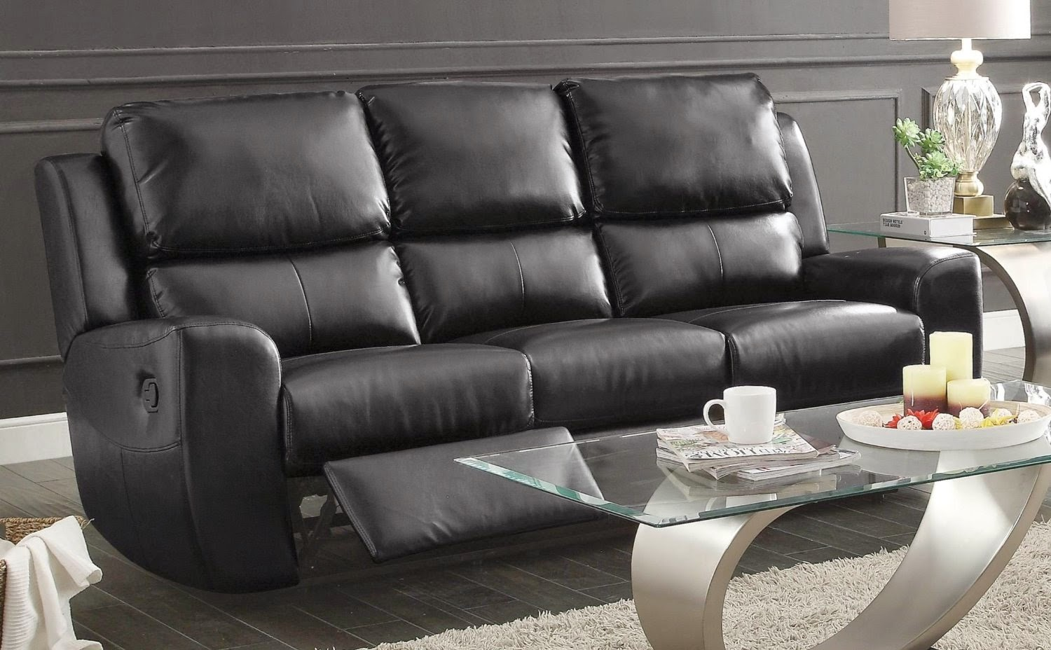 Reclining Sofa Sets Sale: Curved Leather Reclining Sofa