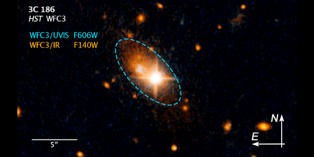 The Hubble Space Telescope captured an image of a quasar named 3C 186 that is offset from the center of its galaxy. Astronomers hypothesize that this supermassive black hole was jettisoned from the center of its galaxy by the recoil from gravitational waves produced by the merging of two supermassive black holes. Credits: NASA's Goddard Space Flight Center