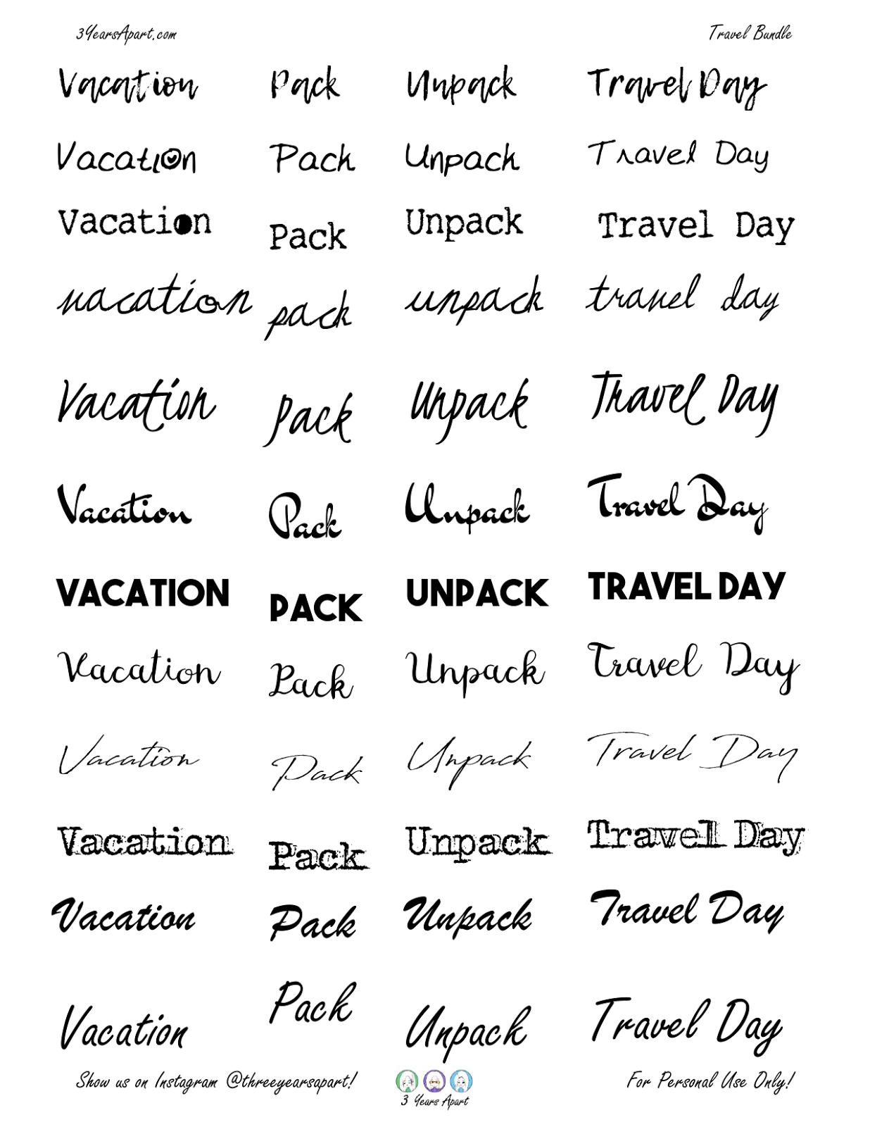 vacation sticker bundle
