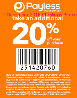 Payless Shoes coupons december 2016