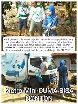 Biasa Jelekin FPI, MetroTV tak Bisa Tutupi Fakta Saat Ketemu Relawan FPI di Lokasi Bencana