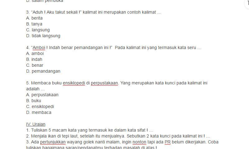 Latihan Soal UTS Bahasa Indonesia Kelas 5 SD Semester 1