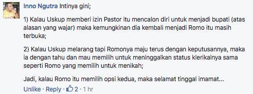 Keuskupan Sibolga Tidak Izinkan Pastor Rantinus Maju Sebagai Calon Bupati