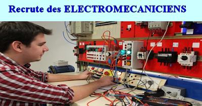 Recrute des ELECTROMÉCANICIENS