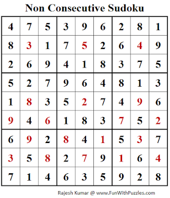 Non Consecutive Sudoku (Fun With Sudoku #192) Puzzle Answer