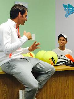 Roger Federer meets cancer survivor Jakob Mueller