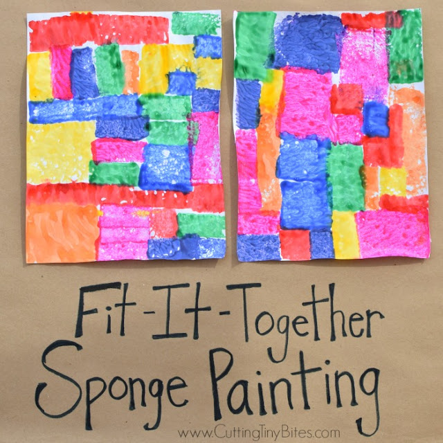 Fit-It-Together Sponge Painting. Great process art activity to explore square and rectangle shapes! Preschoolers, kindergartners, and elementary kids will work on spatial skills while making beautiful art!