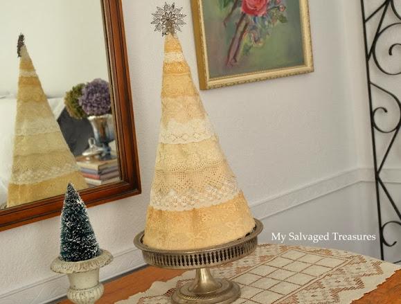 DIY vintage lace night light tree