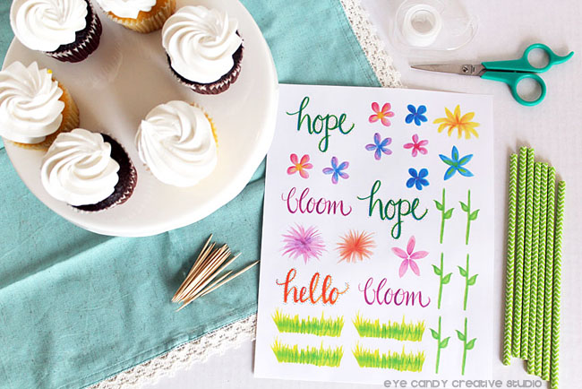 spring cupcake toppers, gope, bloom, hello, flowers, springtime