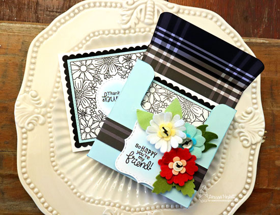 Square Flower Card Set by Larissa Heskett | Floral Fringe Stamp Set, Frames Squared Die Set and Flower Trio Die Set by Newton's Nook Designs #newtonsnook #handmade