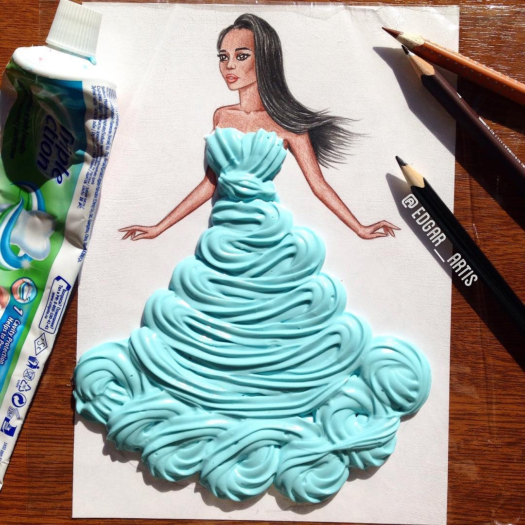 17-Toothpaste-Edgar-Artis-Drink-Food-Art-Dresses-and-Gowns-Drawings-www-designstack-co