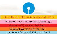 State Bank of India Recruitment 2018- 248 Relationship Manager, Acquisition Relationship Mana