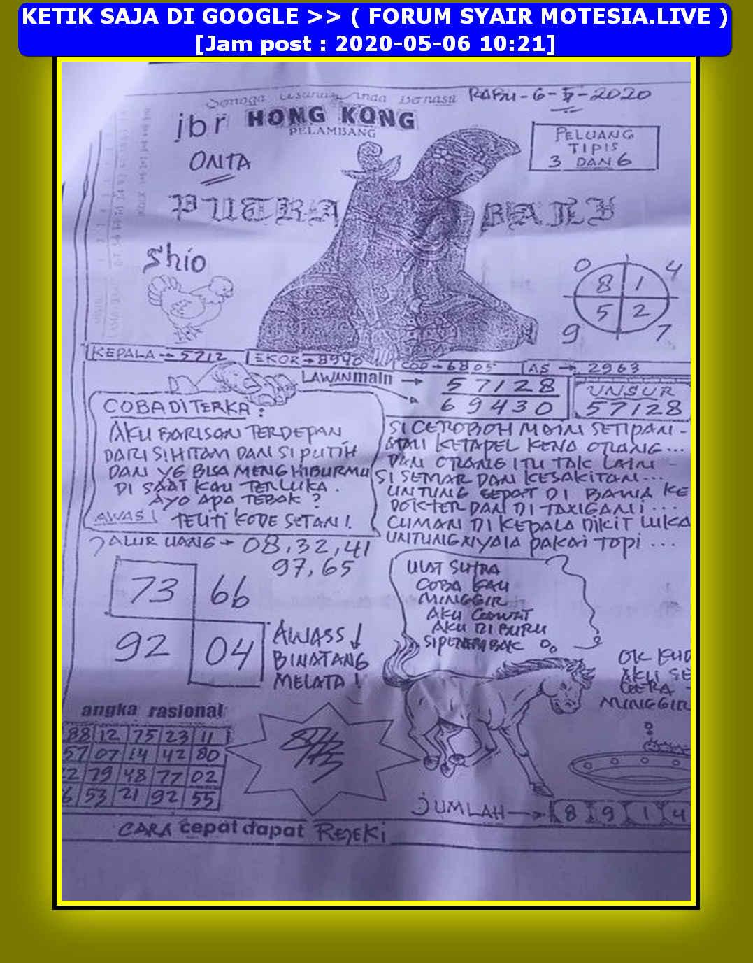 Kode syair Hongkong Rabu 6 Mei 2020 45