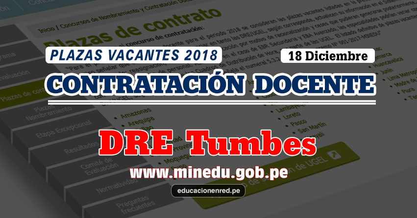 DRE Tumbes: Plazas Vacantes Contrato Docente 2018 (.PDF) www.dret.edu.pe