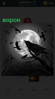на фоне луны на ветке сидит черный ворон на 13 уровне 470 слов