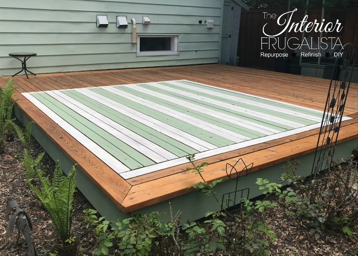 DIY Outdoor Rug Stained White Stripes