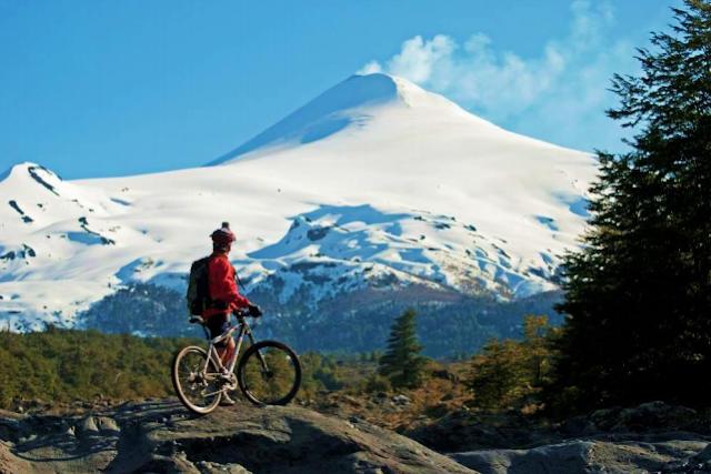 Bicicleta no Parque Nacional Villarrica em Pucón