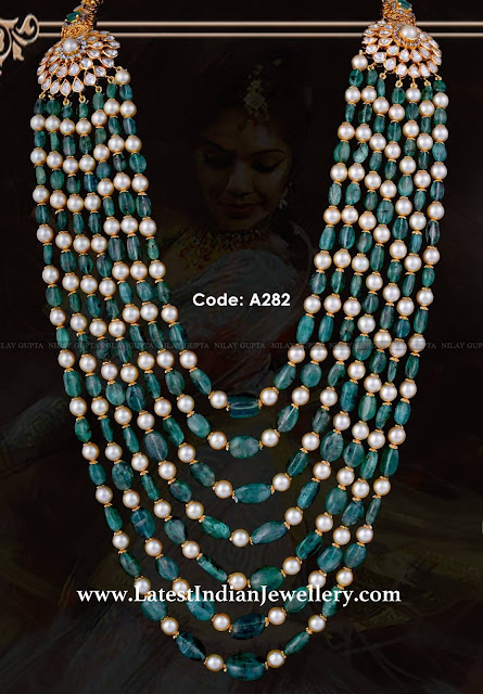 Emerald Pearls Multi Beads Mala